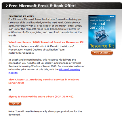 Free E-Book – Microsoft Windows Server 2008 Terminal Services