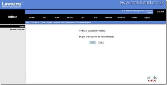 Cisco Linksys SLM2008 - Upgrade Firmware