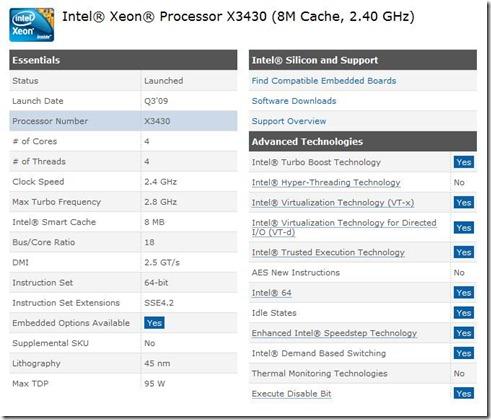 Intel x3430 CPU
