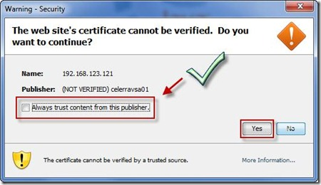 Approve the web sites certificate