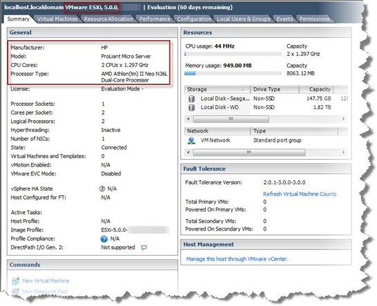 HP Proliant Microserver & VMware vSphere 5 - Summary