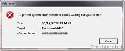 Timed waiting for vpxa to start[5]