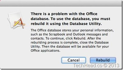 Outlook for Mac 2011 There is a problem with the Office database
